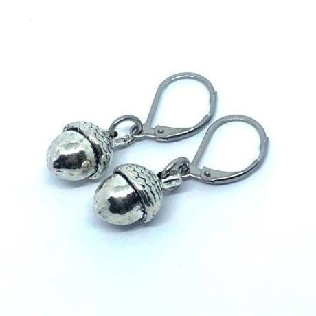 Short acorn earrings. Nickel free Silver plated